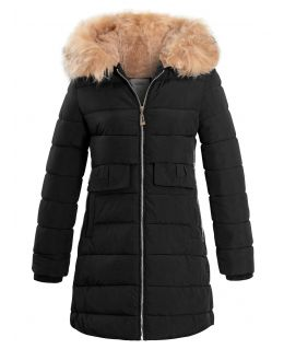 Girls Fleece Lined Parka Coat, Black, Navy, Ages 4 to 14 years