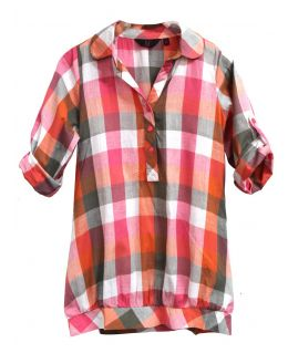 Girls Longline Multi colour Check Shirt Tunic, Childrens Ages 7 to 13 Years
