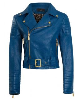 Womens Faux leather Biker Jacket with Leopard Lining, UK Sizes 8 to 14