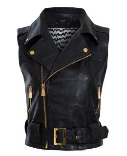 Womens Faux leather Gilet Biker Jacket, Black, Tan, UK Sizes 6 to 12