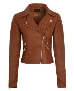 Womens Faux leather Cross Stitch Biker Jacket, Tan, UK Sizes 8 to 16