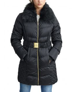 Womens Quilted Coat with Faux Fur Collar, Black, UK Sizes 8 to 16