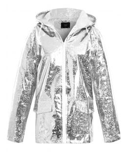 Womens Holographic Rain Mac, Sliver, Pink, UK Plus Size 18 - 24