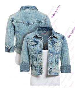 Womens Distressed Denim Jacket Ladies Blue Jean Jackets Size 8 10 12 14 16
