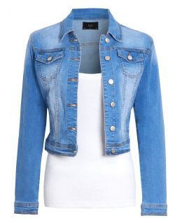 Womens Stonewash Stretch Denim Jacket, Uk Sizes 8 to 16