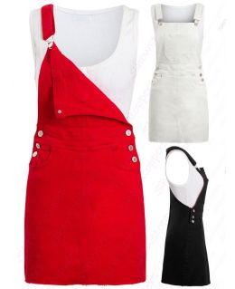 Womens Denim Dress Ladies Stretch Sleeveless Dungaree Dresses Size 8 10 12 14 Red Black