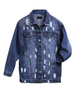 Girls Denim Jacket with Distressed Rip Detailing, Ages 7 to 16 Years