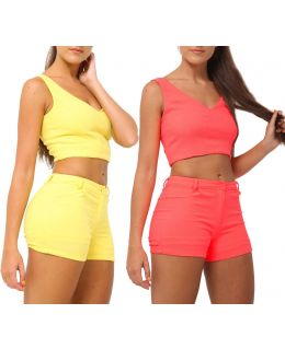 Womens Co Ord Shorts Set Ladies Suit Crop Top Short Size 6 8 10 12 14 Pink Yellow White