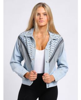 Womens Relaxed Fit Denim Jacket with Stud Chain Tassel detail, UK Sizes 8 to 14