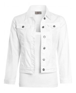 Girls Denim Jacket with Pockets in White, Cerise Pink, Childrens Ages 1 to 16 Years