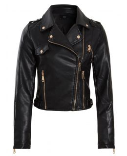 Womens Faux leather Biker Jacket with Side Buckles, UK Sizes 8 to 14