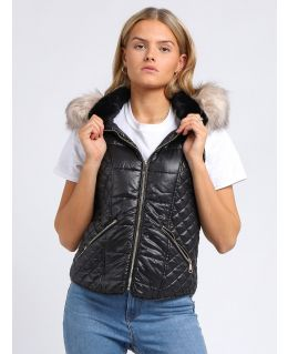 Womens Faux Fur Quilted Gilet, Black, Champagne, UK Sizes 8 to 16