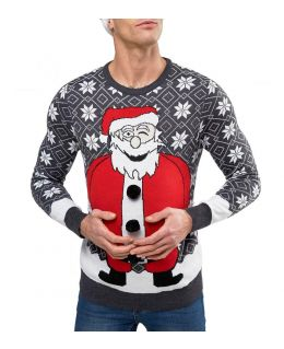 Christmas Knitted Funny Santa Jumper
