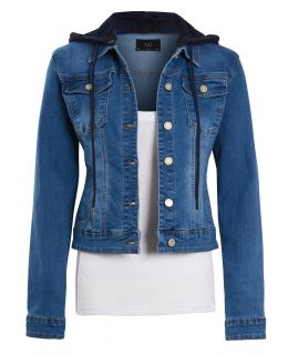 Womens Jersey Hood Premium Denim Jacket, UK sizes 6 to 14
