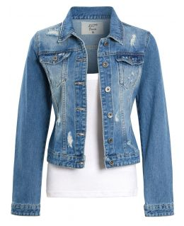 Womens Distressed Denim Jacket, Denim Blue, UK Sizes 8 to 16