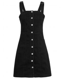 Womens Denim Pinafore Dress, Black, UK Size 8 to 14