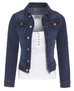 Womens Fitted Stretch Denim Jacket, Indigo, UK Sizes 6 to 16