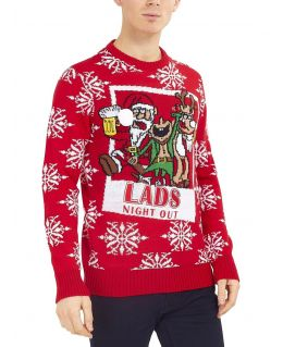 Mens Christmas Jumper Santa Wasted, Lads Night Out, Sizes S to XL