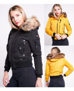 Womens Puffer Jacket with Faux Fur Hood, Black, White, Mustard, UK Sizes 8 to 16