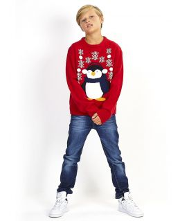 Boys Christmas Jumper Penguin, Red, Charcoal, Ages 7 to 13 Years