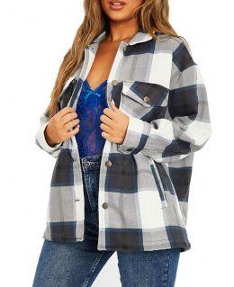 Womens Thick Shirt Jacket Check Shaket, UK Sizes 8 to 16
