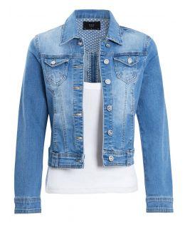 Womens Stretch Denim Jacket in Stonewash Blue, UK Sizes 6 to 14