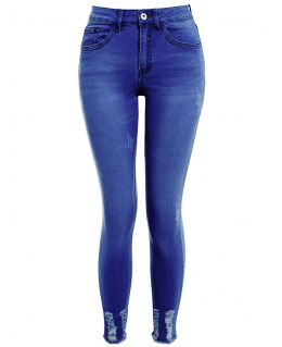 Womens Plus Size Stretch Denim Jeans with Raw Hem, Mid Blue, Black, UK Sizes 16 to 24