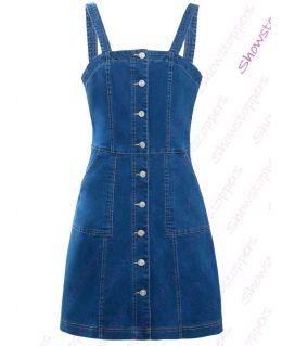 Womens Denim Stretch Sleeveless Pinafore Dress, UK Sizes 8 to 16