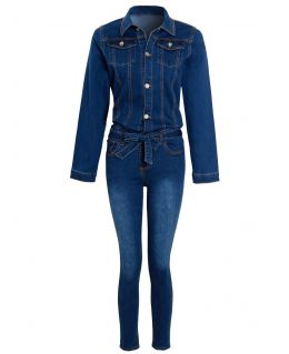 Girls Denim Stretch jumpsuit, Ages 3 to 14 Years