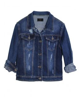 Girls Denim Jacket with Diamante Distressed Detailing, Ages 3 to 14 Years