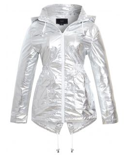 Womens Metallic Sliver Showerproof Raincoat, Plus Sizes 18 to 24