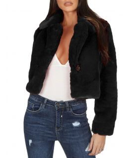 Womens Cropped Faux Fur Jacket, UK Sizes 6 to 14