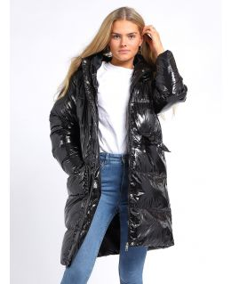 Womens High shine Wet Look Bubble Faux Fur Parka Coat, UK Sizes 8 to 16