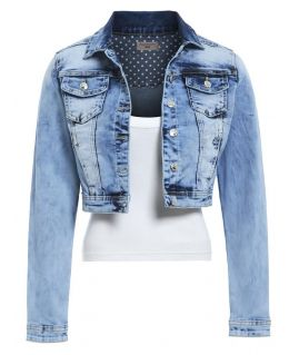 Stonewashed Distressed Denim Jacket