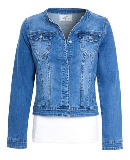 Womens Round Neck Stretch Casual Fit Denim Jacket, UK Sizes 6 to 14
