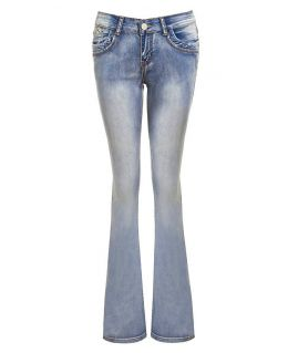 Slim Fit Ripped Bootcut Denim Jean