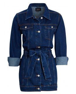 Womens Semi Oversized Girlfriend Denim Jacket, Indigo Mid Blue, UK Sizes 8 to 16
