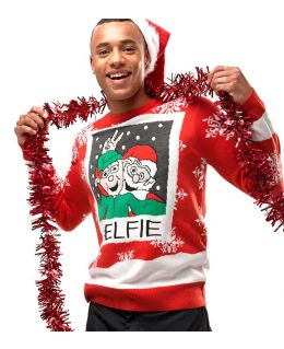Mens Elfie Christmas Jumper Red Elf Xmas Size XS S M L XL Fun Novelty