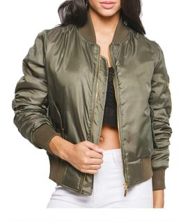 NEW Womens MA1 Classic Padded Bomber Jacket Ladies Vintage Zip Size 8 10 12 14