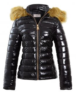 Womens Wet Look Puffer Jacket with Faux Fur