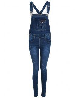 Womens Stretch Denim Indigo dungaree Jeans, Indigo, UK Sizes 8 to 16