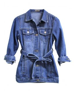 Girls Denim longline Jacket, Denim Blue, Childrens Ages 3 to 14 Years