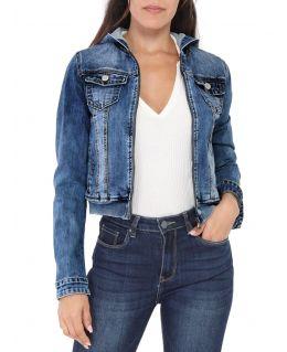 Womens Stretch Denim Jacket with Hood, UK sizes 6 to 14
