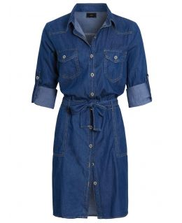 Womens Cotton Blend Denim Shirt Dress, Mid Blue, UK Sizes 8 to 16