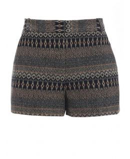 High Waisted Tweed Cotton Shorts