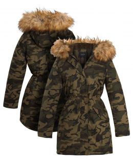 Womens Fleece Lined Khaki Camo Parka, UK Sizes 8 to 16