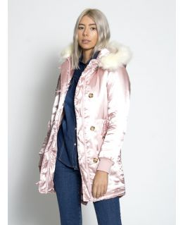 Womens Satin Pink Parka Coat with Faux Fur Trim, UK Sizes 6 to 16