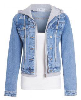Womens Jersey Hood Denim Jacket, UK sizes 8 to 16