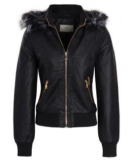 Womens Faux leather Bomber Biker Jacket, UK sizes 8 to 14