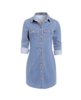Blue Longline Denim Dress